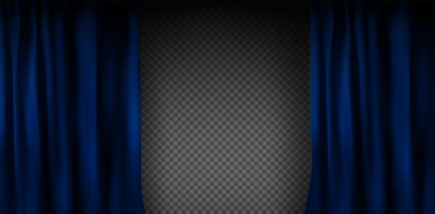 Реалистичный красочный синий бархатный занавес, сложенный на прозрачном фоне. вариант занавески дома в кинотеатре. .