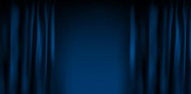 Реалистичные красочные голубые бархатные занавески сложены. вариант шторки дома в кинотеатре. иллюстрация