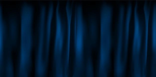 접힌 현실적인 화려한 블루 벨벳 커튼입니다. 영화관에서 집에서 옵션 커튼. 삽화
