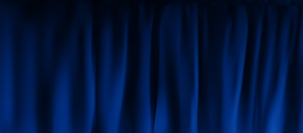 Реалистичный красочный синий бархатный занавес в сложенном виде. вариант штор в домашних условиях в кинотеатре