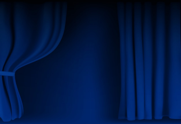 Realistic colorful blue velvet curtain folded.