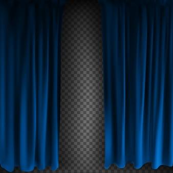 現実的なカラフルなブルーベルベットのカーテンが折り畳まれています