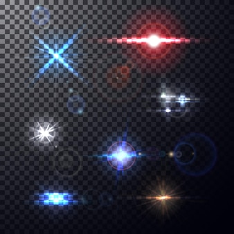 Realistic colorful bright lens flares beams and flashes on transparent backdrop.