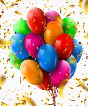 パーティーやお祝いのために飛んでいる紙吹雪と誕生日風船の現実的なカラフルな束