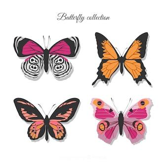 Collezione di farfalle colorate realistico