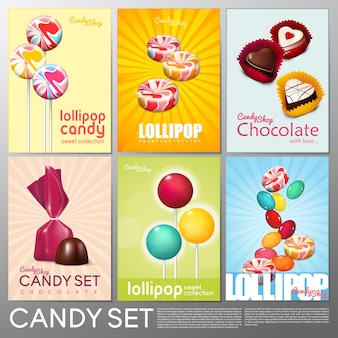 Realistic colorful candy shop brochures set with chocolate sweet products