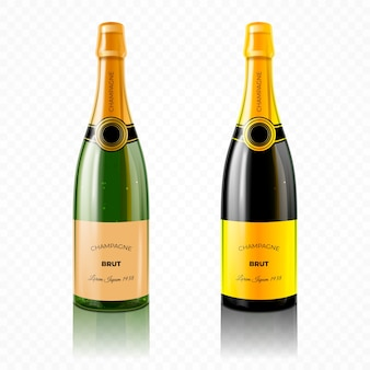 Realistic colorful champagne bottle