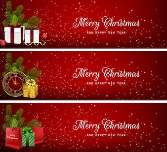 Realistic colorful Christmas banners
