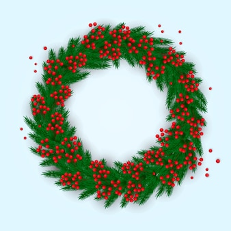 Realistic and colorful christmas wreath