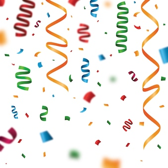 Realistic colorful confetti background
