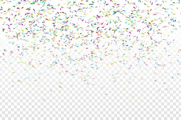 透明な背景に現実的なカラフルな紙吹雪。お誕生日おめでとう、パーティー、休日のコンセプトです。