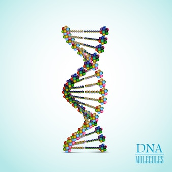 Realistic colorful dna helix concept illustration