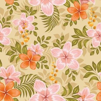 リアルなカラフルな花柄シームレス、テキスタイルプリントデザイン
