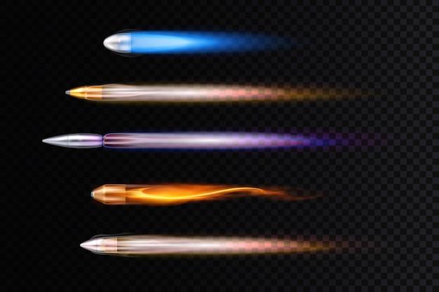 현실적인 다채로운 비행 총알 흔적