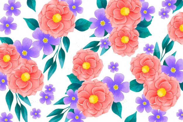 Realistic colorful hand painted floral background