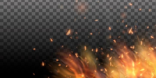 Realistic colorful image line bon fire flame with horizontal reflection smoke and sparks on black background. abstract fire background.