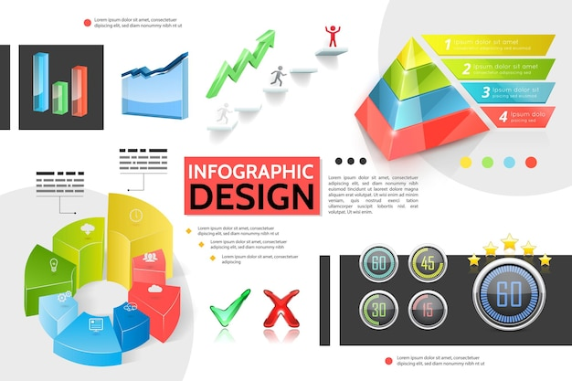 Realistic colorful infographic concept with marketing pyramid charts graphs bars business icons information indicators tick elements growing arrow illustration