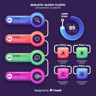 Realistic colorful infographic elements collection