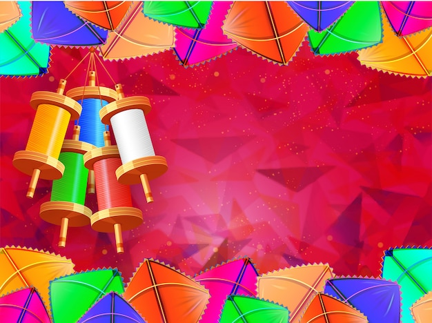 Realistic colorful kites decorated red blurry background