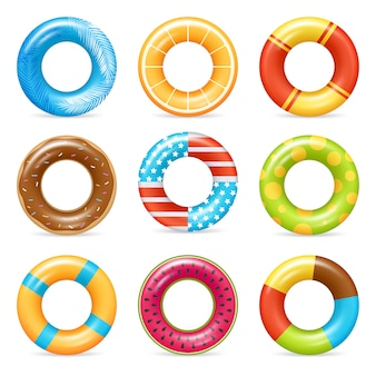 Realistic colorful life rings set