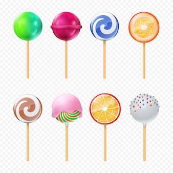 Realistic colorful lollipops set