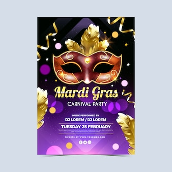 Realistic colorful mardi gras poster template