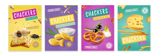 Realistic colorful packaging with salty crackers with different flavours isolated