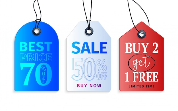 Realistic colorful paper price tag with text and discount