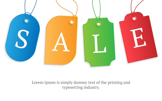 Realistic colorful paper price tag
