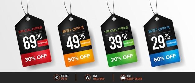 Realistic colorful pricetag set