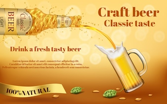 Realistic colorful promotion banner with abstract swirling bottle of craft golden beer