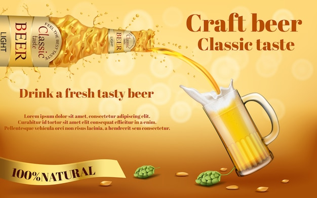 Реалистичный красочный рекламный баннер с абстрактной закрученной бутылкой ремесленного золотого пива
