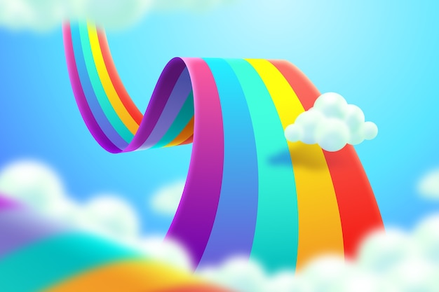 Realistic colorful rainbow concept