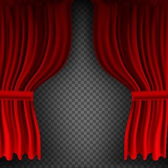 Реалистичные красочные красные бархатные шторы сложены на прозрачном фоне. вариант шторки дома в кинотеатре. иллюстрация