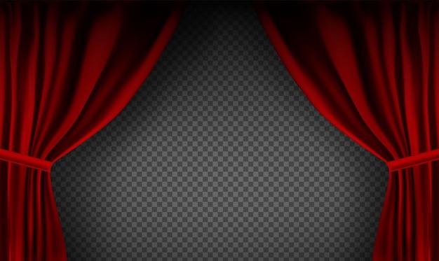 透明な背景に折り畳まれた現実的なカラフルな赤いベルベットのカーテン。映画館の自宅にあるオプションのカーテン。