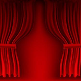 現実的なカラフルな赤いベルベットのカーテンが折り畳まれています。映画館の自宅にあるオプションのカーテン。図。