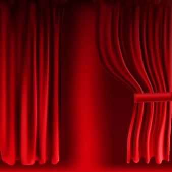現実的なカラフルな赤いベルベットのカーテンが折り畳まれています。映画館の自宅でのオプションカーテン。ベクトルイラスト。