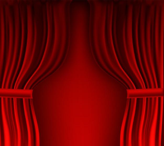 Реалистичный красочный красный бархатный занавес в сложенном виде.