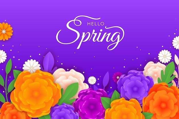 紙のスタイルでリアルなカラフルな春の背景