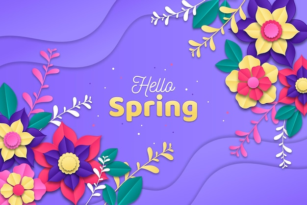 Realistic colorful spring background in paper style