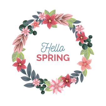 Realistic and colorful spring floral frame