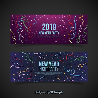 Реалистичный красочный стример новогодний шаблон баннера участника