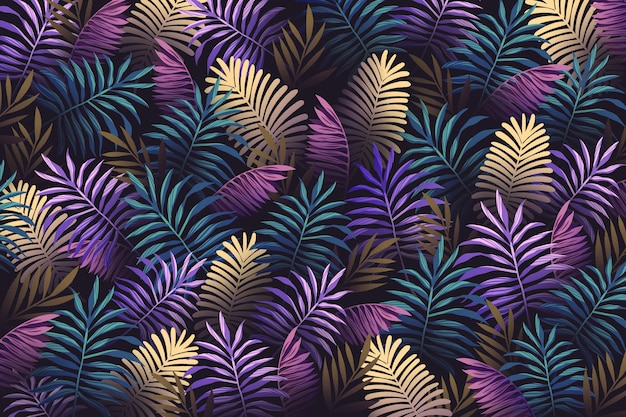 Realistic colorful tropical leaves background