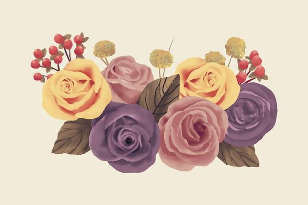 Realistic colorful vintage floral bouquet
