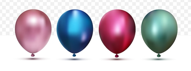 Realistic colorfull chrome helium balloons  collection set on white transparent background