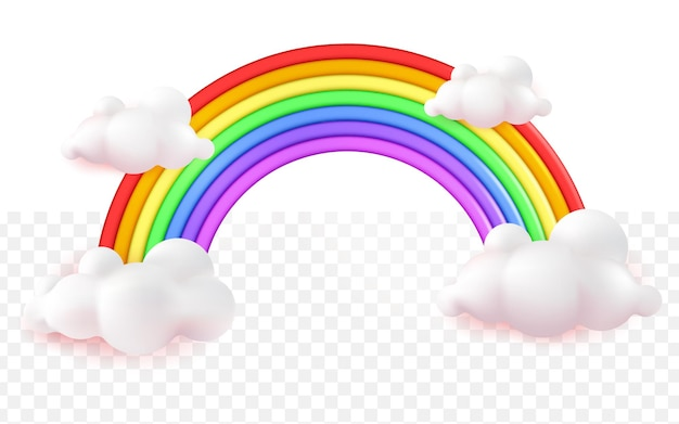白い透明な背景にリアルなカラフルな虹の漫画の3d