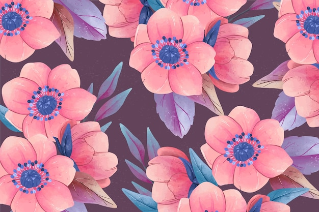 Realistic colourful hand painted floral background