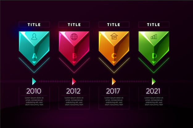 Realistic colourful infographic template with timeline