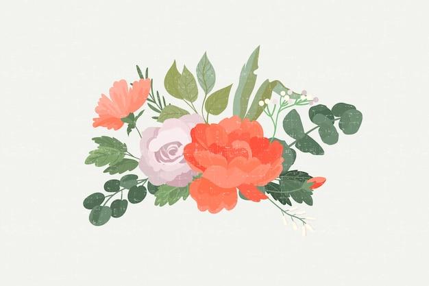 Realistic colourful vintage floral bouquet