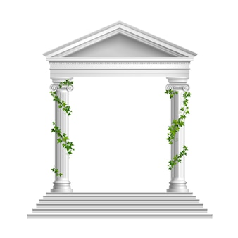 Realistic columns decorated green leaves with roof and base with stairs composition on white